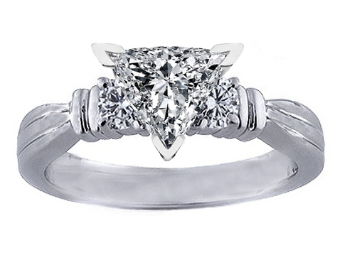 Three Stone Trillion Diamond Engagement Ring 0.30 tcw.