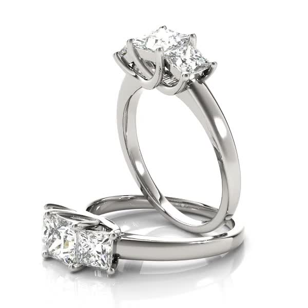 Classic Trellis Three Stone Princess Cut Engagement Anniversary Ring in Platinum