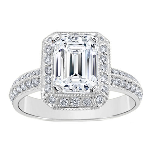 Engagement Ring Emerald Cut Diamond Vintage Knife Edge Engagement Ring 0 50