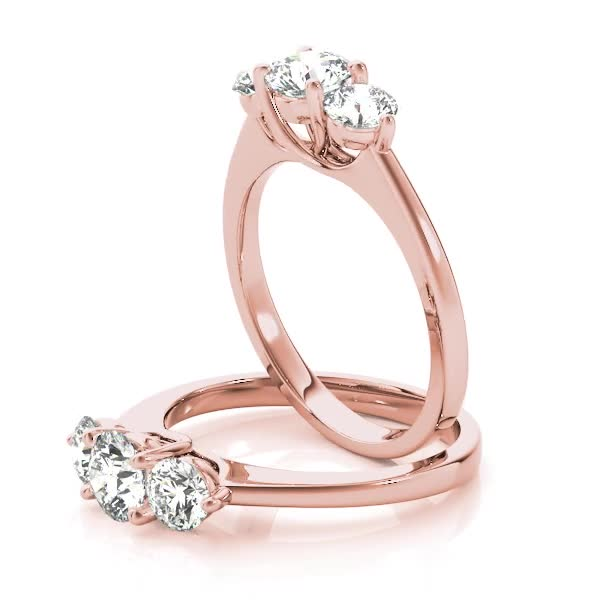 Three Stone Diamond Petite Engagement Ring in Rose Gold