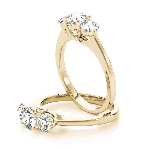 Three Stone Diamond Petite Engagement Ring Yellow Gold