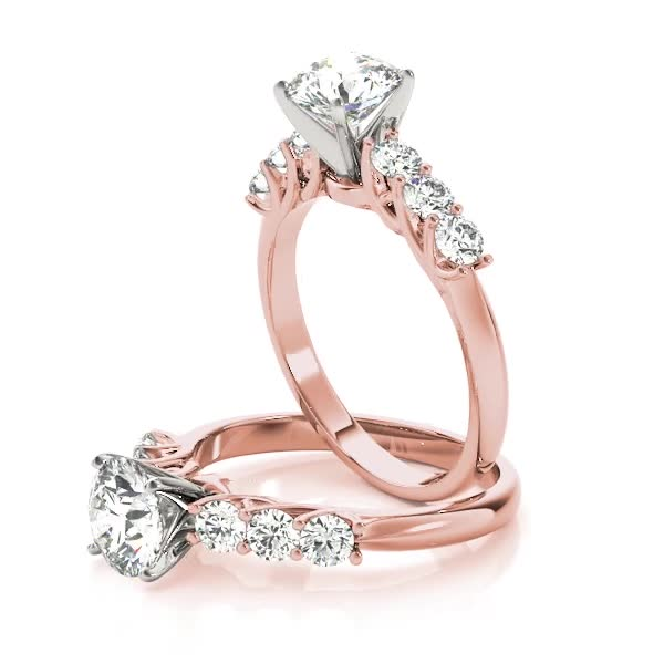 Trellis Diamond Engagement Ring & Wedding Band in Rose Gold