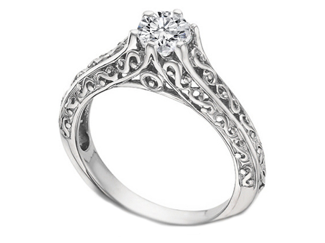 filligree carved engagement zirconia item gold cut cz cubic or round hand solitaire filigree rings vintage ring princess