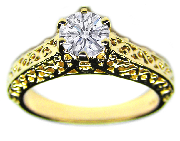 Filigree Diamond Engagement Ring in 14K Yellow Gold