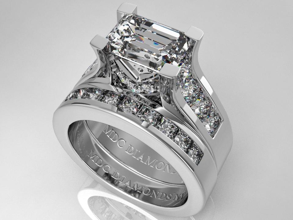 engagement ring modern horizontal emerald cut diamond engagement ring matching wedding ring bridal set es550precbswg - Emerald Cut Wedding Ring