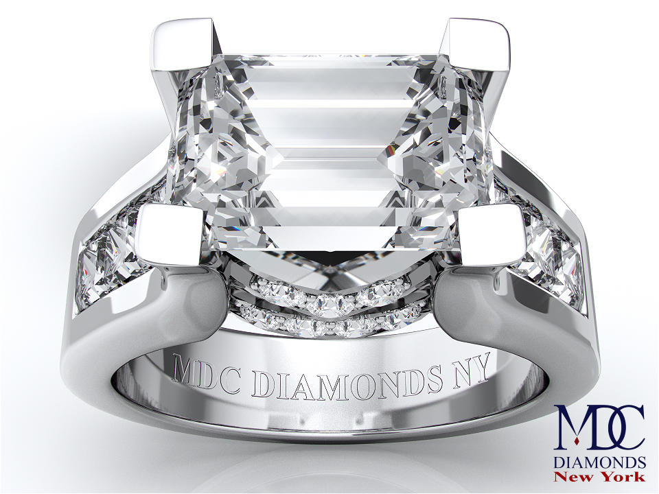 Modern Horizontal Emerald Cut Diamond Engagement Ring