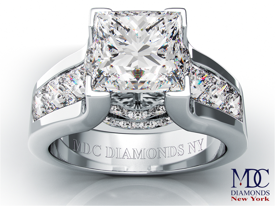 Modern Princess Diamond Engagement Ring princess Diamonds band in Platinum