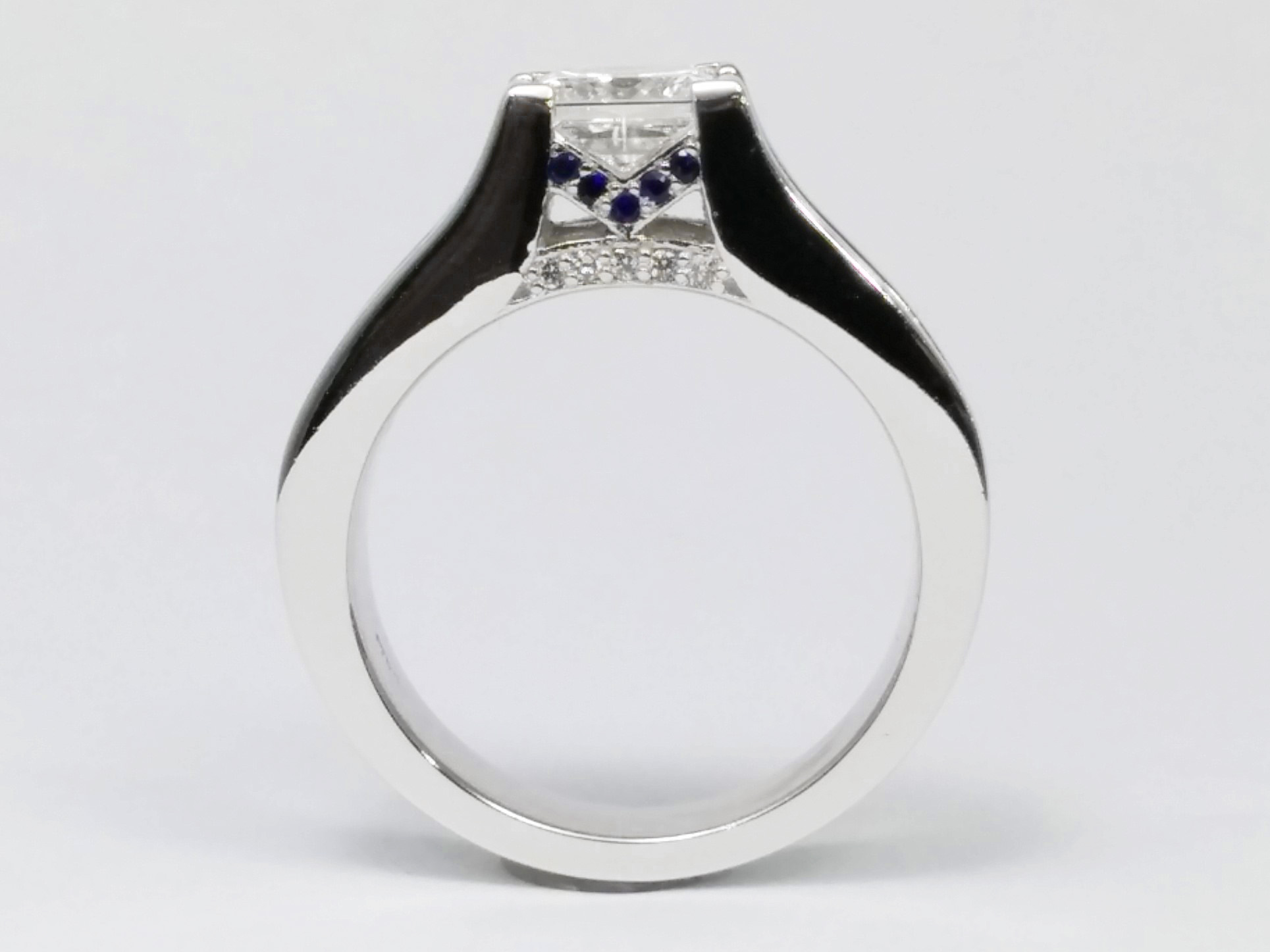 Modern Princess Diamond Engagement Ring princess Diamonds and Blue Sapphires on Band 14K White Gold