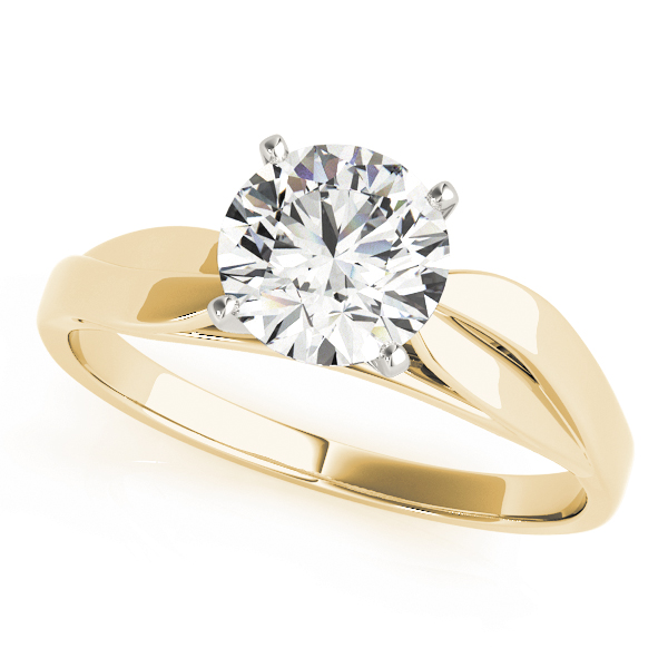 Solitaire Cathedral Diamond Leave Engagement Ring in Yellow Gold
