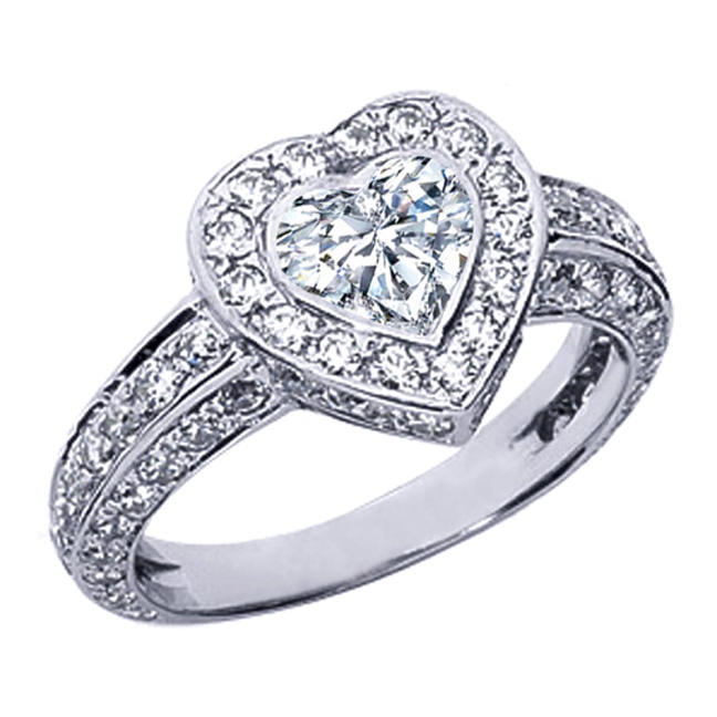 engagement ring vintage style bezel set heart shape