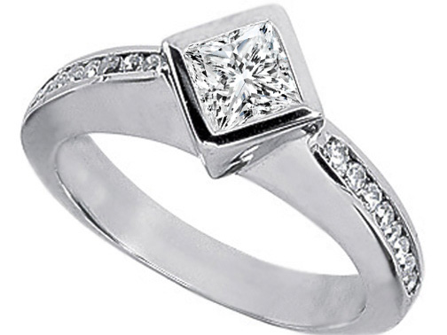 Princess Diamond Engagement Ring Bezel set Diagonal with Channel Set Diamond band 0.24 tcw.