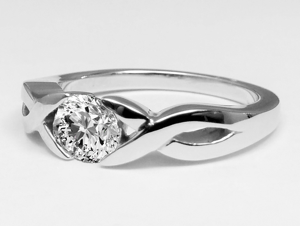 Infinity Love Swirl Diamond Engagement Ring In 14k White Gold
