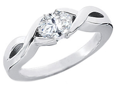 Infinity Love Swirl Oval Diamond Engagement Ring in 14K White Gold