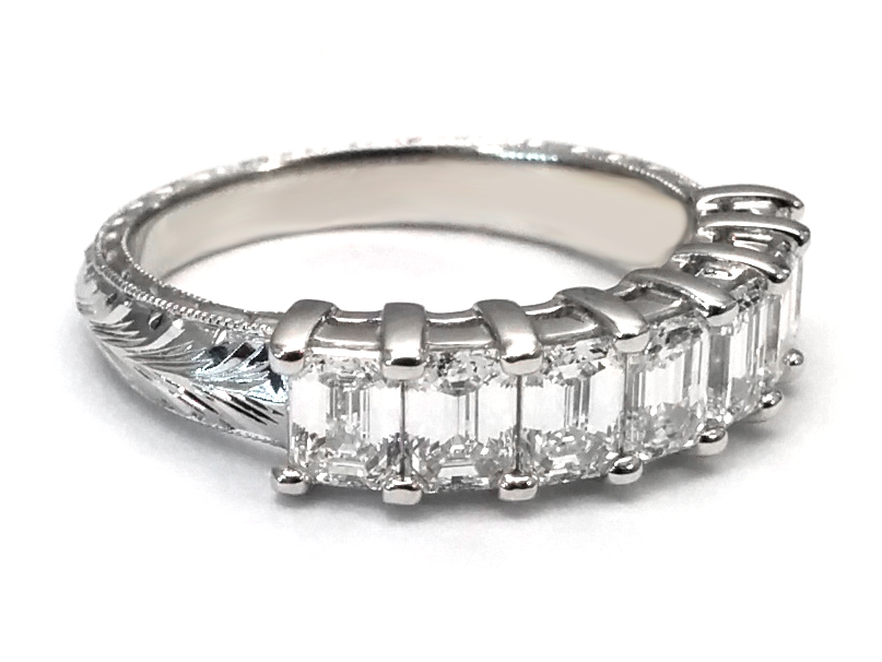 Hand Engraved Seven Stone Emerald Cut Wedding Ring in 14 Karat White Gold