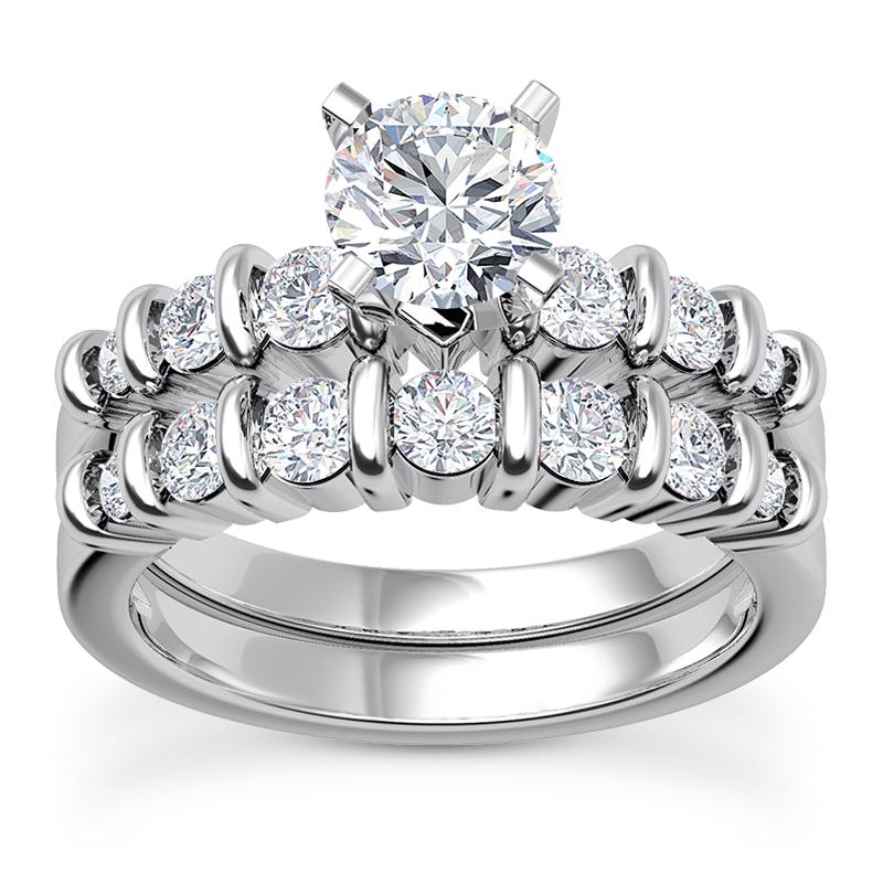Bar Set Bridal Engagement Ring Matching Wedding 0 90 Tcw In 14k White