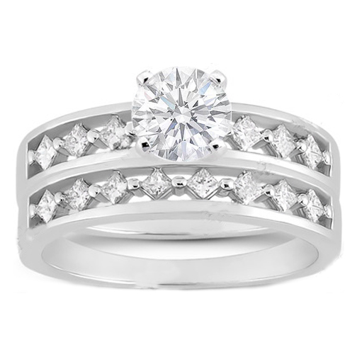 Diamond Engagement Ring Diagonal Princess Band & Matching Wedding Band 0.42 tcw. In 14K White Gold