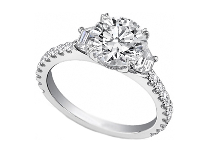 Three Stone Trapezoid Diamond Engagement Ring 0.50 tcw.