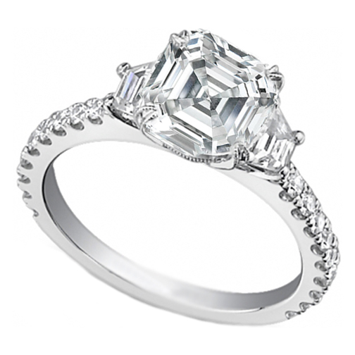 Asscher Diamond Three Stone Trapezoid Diamond Engagement Ring 0.50 tcw.
