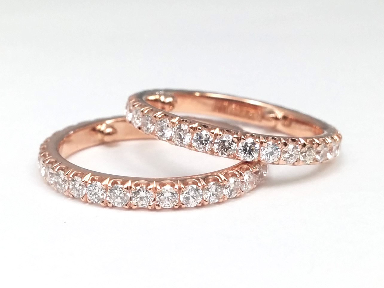 Two Eternity Matching Wedding Bands in 14K Rose Gold