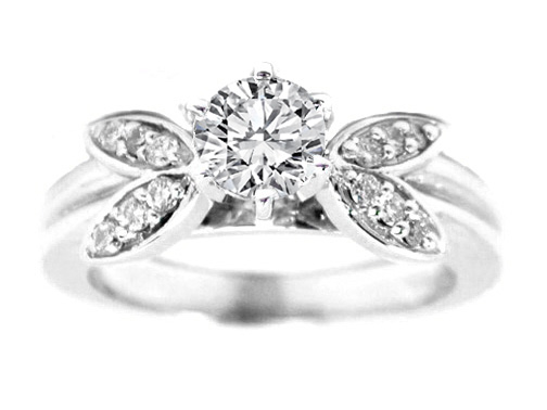 Engagement Ring Vintage Style Diamond Flower Engagement Ring 0 20 tcw In 14