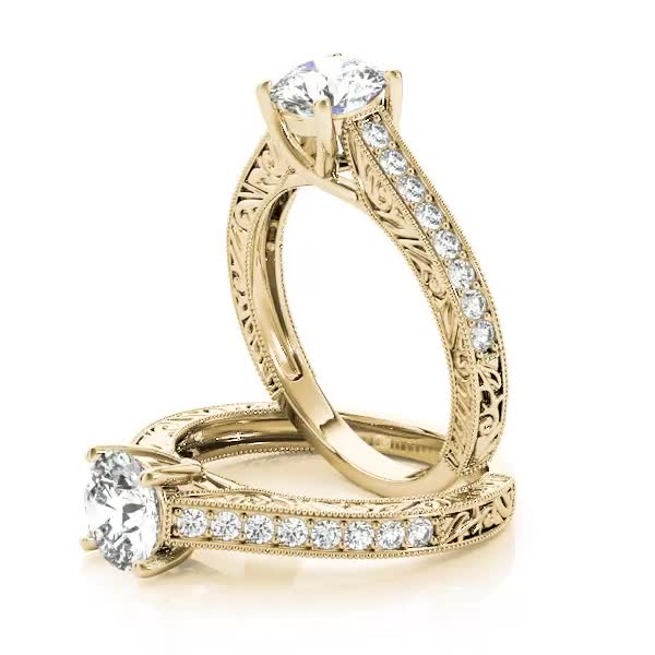 Trellis Diamond Engagement Ring with Engraving Yellow Gold