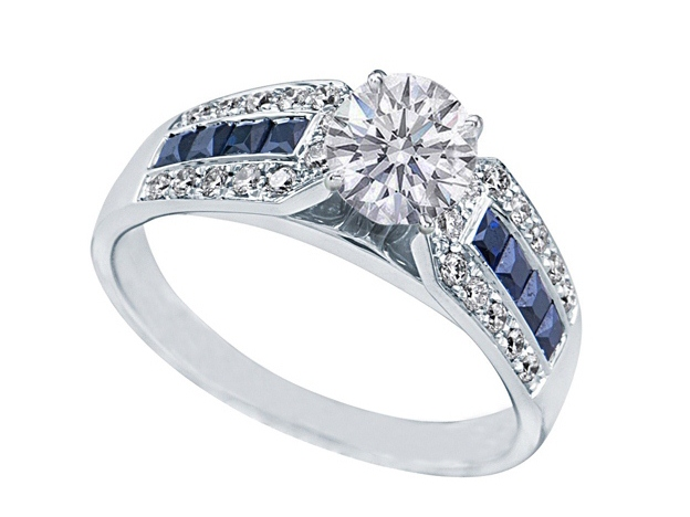 Round Diamond Vintage Engagement Ring Horse shoe setting with blue sapphires ...