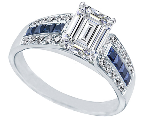 emerald cut diamond vintage horseshoe engagement ring 06ctw - Horseshoe Wedding Rings