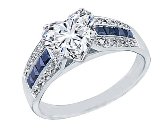 Heart Shape Diamond Vintage Horseshoe Engagement Ring 0 6ctw In 14k White Gold