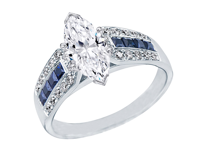 Marquise Diamond Vintage Horseshoe Engagement Ring blue sapphires & Diamond accents 0.6 tcw. In 14K White Gold