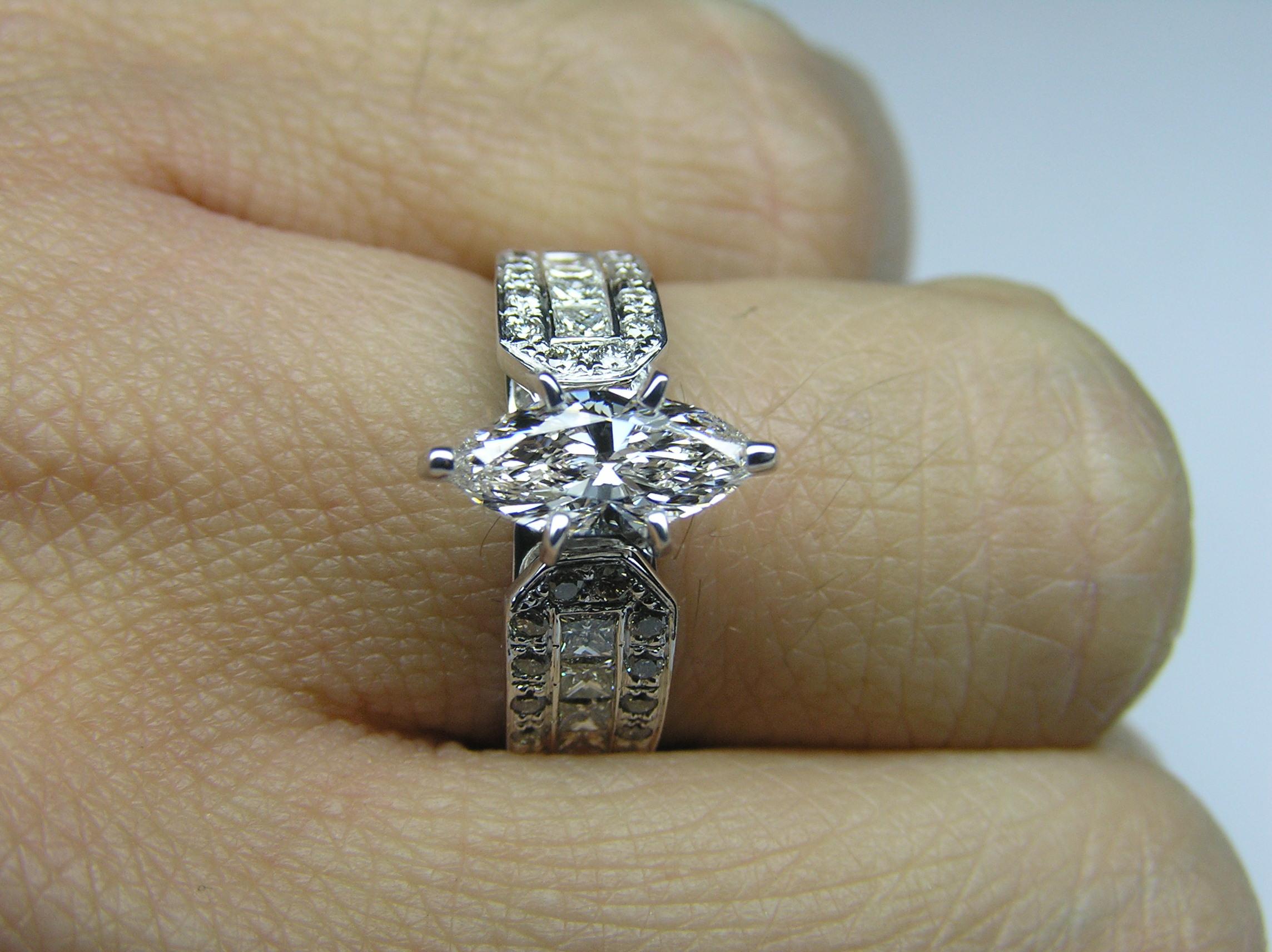 engagement ring marquise diamond vintage horseshoe engagement ring 06 tcw in 14k white gold es591mqd - Horseshoe Wedding Rings