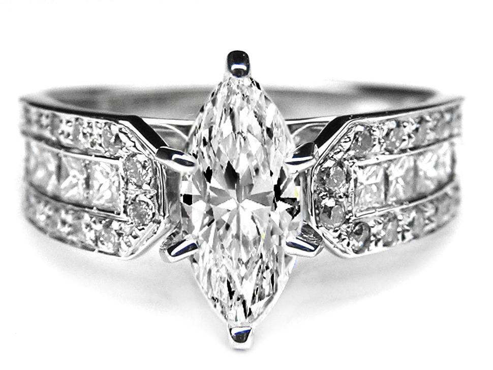 Marquise Diamond Vintage Horseshoe Engagement Ring  0.6 tcw. In 14K White Gold