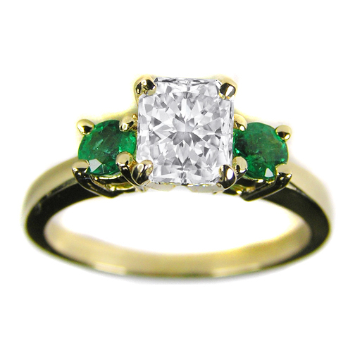 Engagement Ring with Green Emeralds 14K Yellow Gold