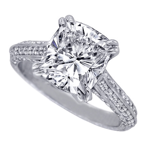 Vintage Style Cushion Diamond Cathedral Knife Edge Engagement Ring 0.7 tcw. In 14K White Gold