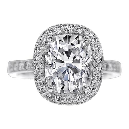cushion diamond vintage halo engagement ring diamond band 060 tcw in 14k white gold - Vintage Diamond Wedding Rings