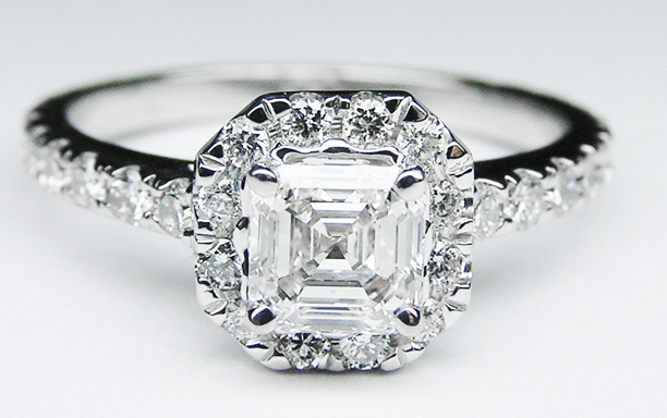Asscher Diamond Vintage Halo Engagement Ring 0.68 tcw.