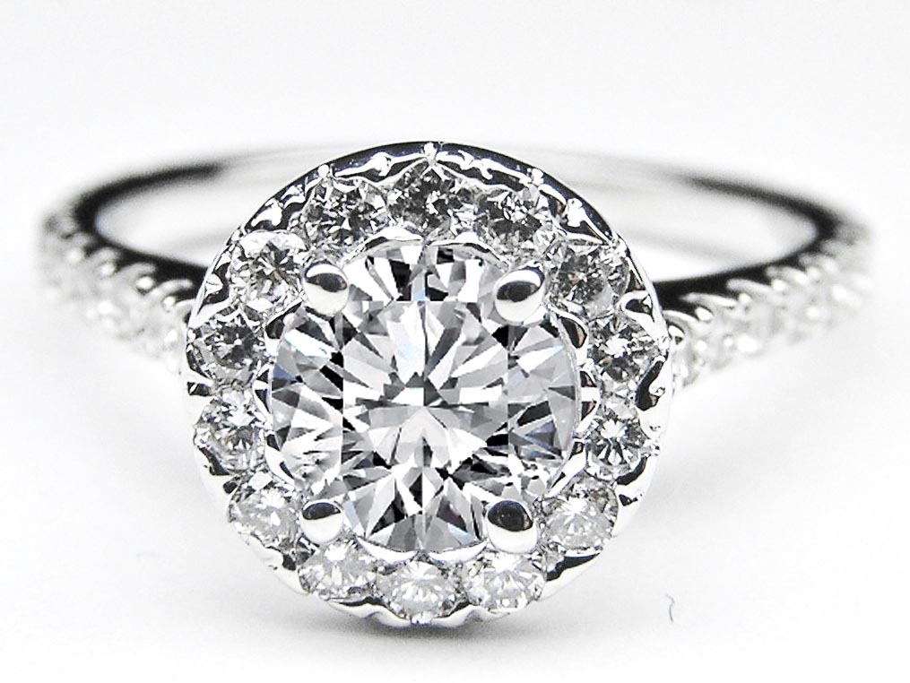 Diamond Halo Cathedral Engagement Ring in 14K White Gold