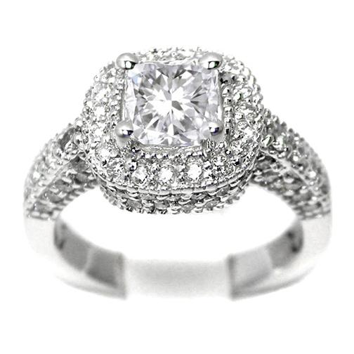 Cushion Diamond Engagement Ring Pave Diamond Vintage Style 0.80 tcw. In 14K  White Gold