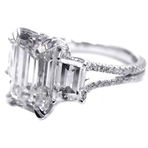 Engagement Ring Three Stone Emerald cut Diamond Vintage Style Split Band Eng