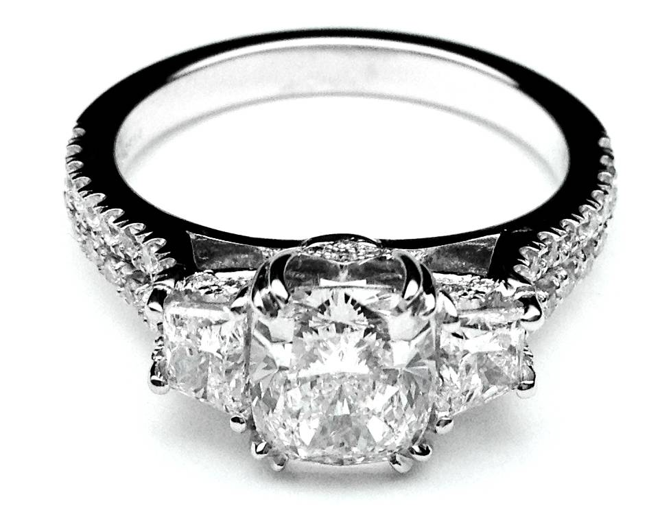 Three Stone Cushion Cut Diamond Vintage Style Split Band Engagement Ring  For Large Diamonds, 1.62