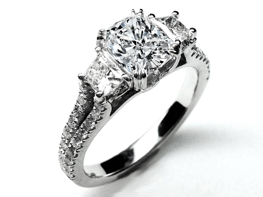 162 Three Stone Cushion Cut Diamond Vintage Style Split Band Engagement  Ring For Large Diamonds,