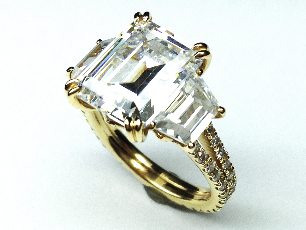 Yellow Gold Three Stone Emerald Cut Diamond Vintage Style Split Band Engagement  Ring For Large Diamonds