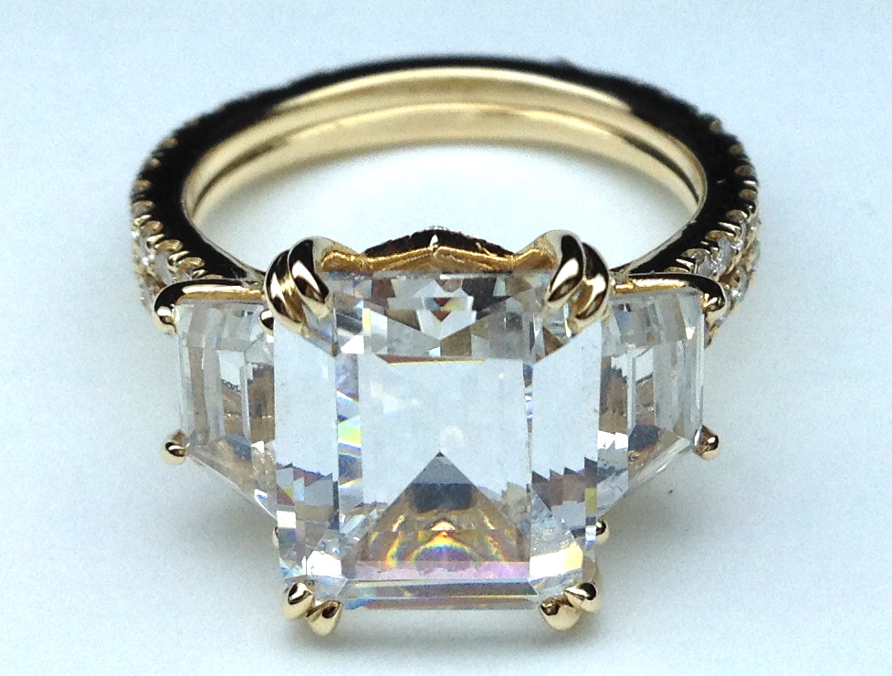 Engagement Ring Yellow Gold Three Stone Emerald Cut