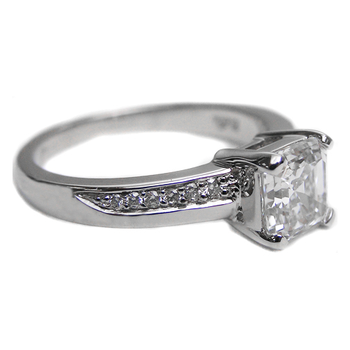 Engagement Ring Vintage Design Asscher Cut Diamond Swirl Promise Style Engag
