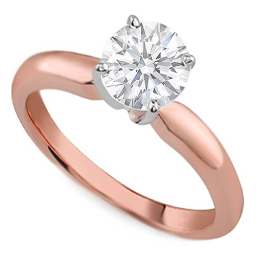 Pink Gold Classic Solitaire Engagement Ring dome tapered band