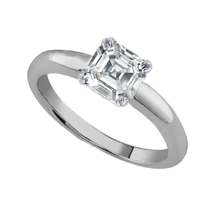 Asscher Cut Diamond Classic Solitaire Engagement Ring dome tapered band in 14K White Gold