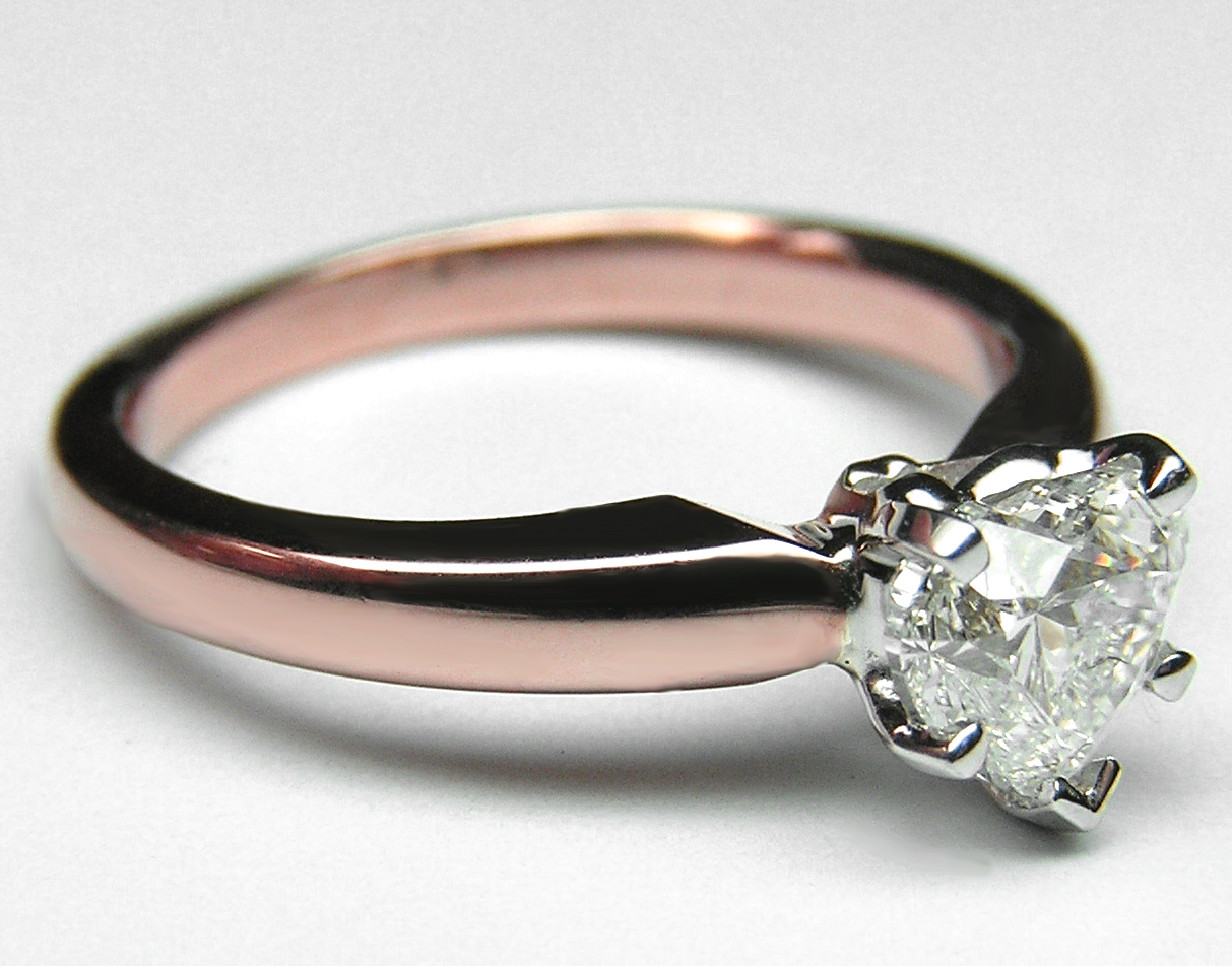 Heart Diamond Classic Solitaire Engagement Ring dome tapered band in 14K Pink Gold