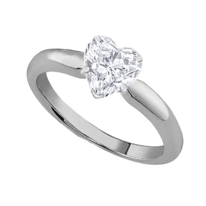 Heart Diamond Classic Solitaire Engagement Ring dome tapered band
