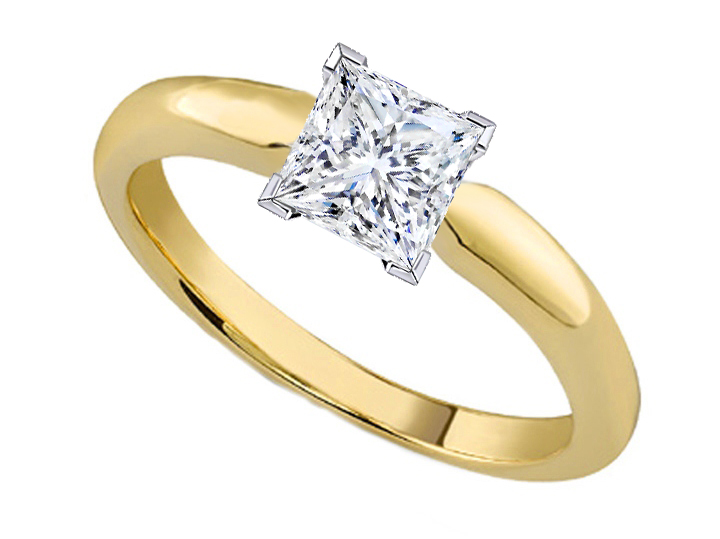 Engagement Ring Princess Cut Diamond Classic Solitaire