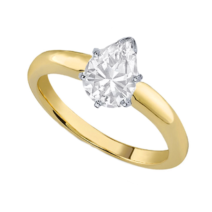 Engagement Ring Pear Shape Diamond Classic Solitaire Engagement Ring Dome Tapered Band In 18K