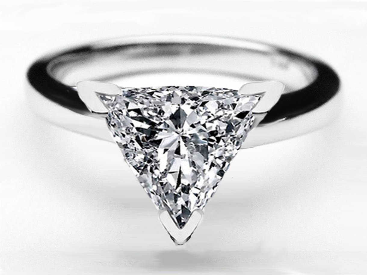 Trillion Diamond Classic Solitaire Engagement Ring Dome Tapered Band in 14K White Gold